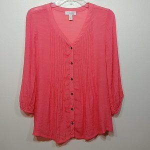 Dress Barn Coral Peach Semi Sheer 3/4 Sleeve Sz M